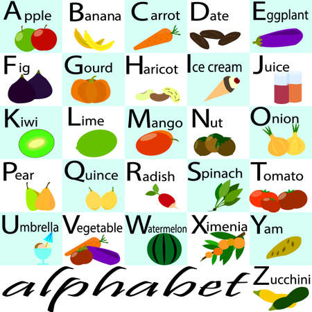 learning english: Vector alphabet, capital letters with fruits and vegetables ornament. Alphabet for kids with fruits and vegetables. Back to school. Learning English food alphabet. ABC cards.