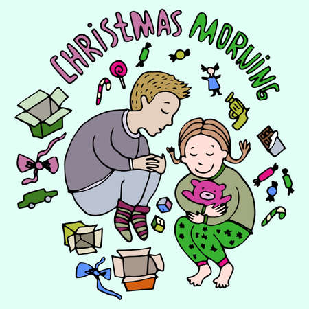 boxing day special: Christmas Morning. Boxing Day. Happy New Year greeting card Illustration