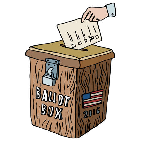 presidential: Vote box vector illustration. Presidential Election Day 2016 Campaign Ad Flyer