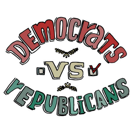 republicans: Democrats versus Republicans. Election Day 2016 Campaign Ad Flyer.  Social Promotion Banner. Vector illustration. Illustration