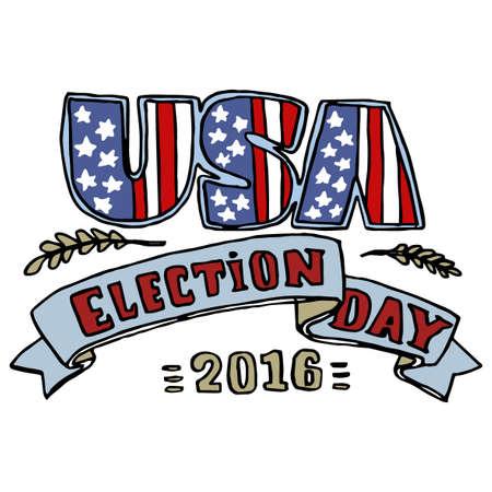 stars and stripes: Vote Presidential Election 2016 Red White and Blue Stars Stripes  USA Flag Banner Illustration Illustration