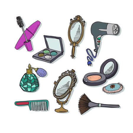 makeup products: Set of different makeup items. Cosmetic elements nail polish, perfume, mascara, brush, mirrow,  lipstick. Luxury high quality  products. Vector illustration for booklets, brochures, leaflets or banner