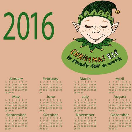 mythical festive: Christmas Elf. Calendar 2016