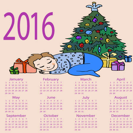 boxing day special: Child sleeps under New Year Tree. Calendar 2016