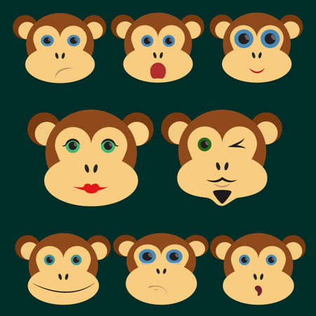 resentment: Set of Chinese Zodiac symbols monkeys. Expressing emotions. Resentment. Surprise. Smile. Dander. Monkey man and woman. Cute icons. Cool chimpanzee. Vector illustration.  New Year and Christmas concept