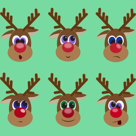 reno: Conjunto de renos lindo que expresan diferentes emociones. Resentimiento. Sorpresa. Sonre�r. Caspa. tel�n de fondo de invierno con animal fresco. ilustraci�n vectorial editable para su dise�o. A�o Nuevo y Navidad concepto