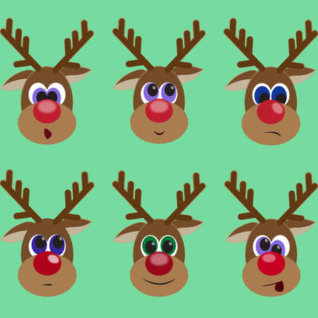 Set of cute reindeers expressing different emotions. Resentment. Surprise. Smile. Dander. Winter backdrop with cool animal. Vector illustration editable for your design. New Year and Christmas concept