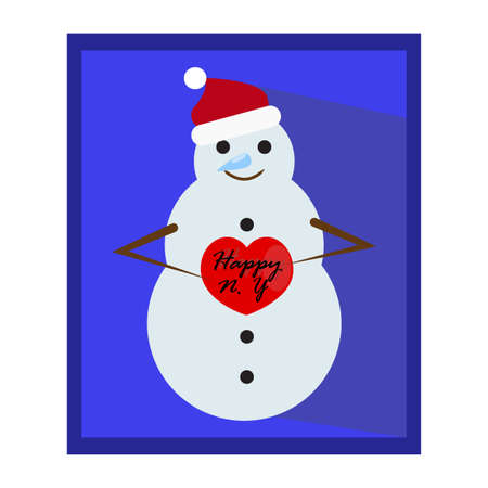 snow man party: Snowy snowman in red Santa Clause hat. Cool snowman with a red heart. Funny cute smile and cool nose. Festive and Christmas greeting card. Flat design. Editable vector illustration template.