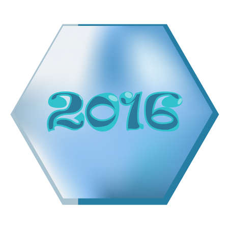 backkground: Happy new year 2016. Creative greeting card design template. Blue hexagon on white backkground. Creative element. New Year and Christmas concept. Universal vector background. Illustration