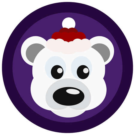 clause: Cute bear in  red Santa Clause hat.  Winter banner with cool animal in a cap. Curious teddy bear. Vector illustration editable for your design. New Year and Christmas concept. Greeting card design. Illustration