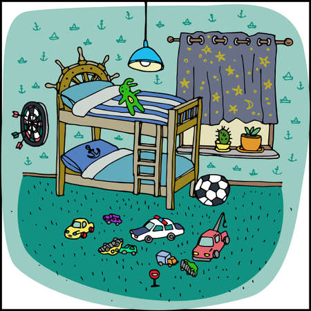 play boy: Toddler boy room interior in cartoon style. Children bedroom with boy lifestyle elements, two bunk bed, a lot of toys on the carpet. Furnished apartment. Cool playroom in green color. Vector