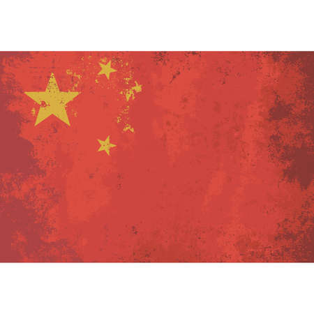 golden field: Grunge effect flag of China.  Red field charged in the canton with five golden stars. The design features one large star, with four smaller stars in a semicircle set off towards the fly. Vector Illustration