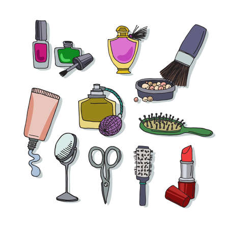 mirrow: Set of different makeup items. Cosmetic elements nail polish, perfume, mascara, brush, mirrow, lipstick. Luxury high quality  products. Vector illustration for booklets, brochures, leaflets or banner Illustration