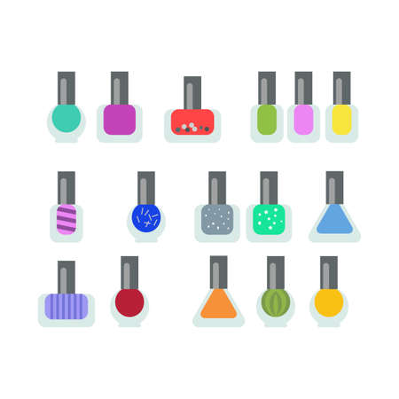 pedicure set: Set bottles of nail polish in various colors. Colorful bottle containers for stylish manicure and pedicure. A lot of colors on white background. Women accessoires. Salon art. Vector illustration