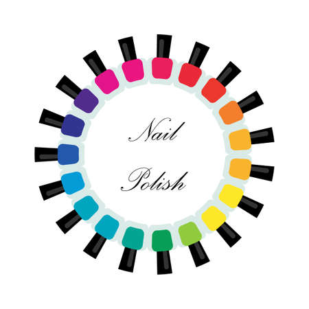 pedicure: Set bottles of nail polish in various colors. Manicure and pedicure design. Modern girl accessories. Glamour fingernails. Trendy bright colors. Women collection. Vector illustration Illustration