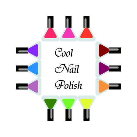 pedicure set: Set bottles of nail polish in various colors. Manicure and pedicure design. Modern girl accessories. Glamour fingernails. Trendy bright colors. Women collection. Vector illustration Illustration
