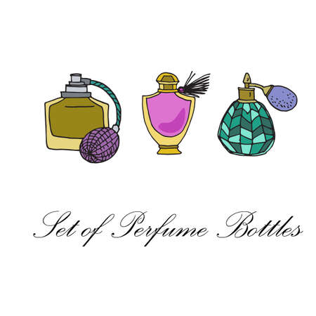 perfume spray: Hand drawn set of isolated perfume bottles icons. Samles of perfume container design. Elegant women fashion spray. Collection of female accessoires. Vector illustration.