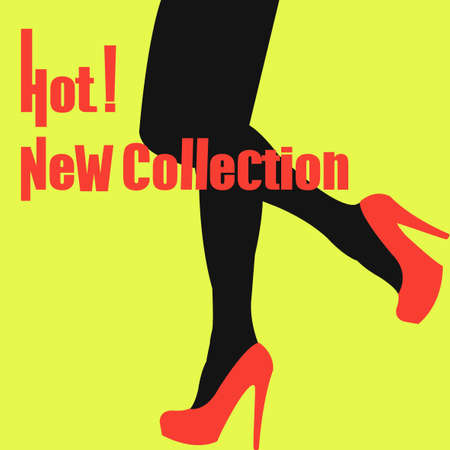 Nueva colección de zapatos. Nuevas colecciones de primavera y verano. Oferta especial. Piernas delgadas en zapatos rojos. Piernas atractivas en nuestros zapatos. Puede ser utilizado para volantes, pancartas o carteles. ilustración vectorial
