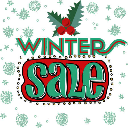flier: Sale and discount card, banner, flier. Winter sale title. Mistletoe, hand drawn letters composition isolated on white background. Red berries and green leaves. Editable vector illustration template