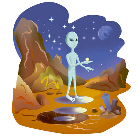 martian: Water on Mars. Martian shows water in its hand. New world is discovered. Hand drawn watercolor illustration. Water on the Mars surface. Great science discovery. Comic cartoon style. Stock Photo