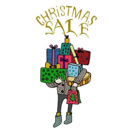 flier: Sale and discount card, banner, flier. Christmas sale title. Mistletoe, hand drawn letters composition isolated on white background. Man bought a lot of presents. Editable vector illustration template