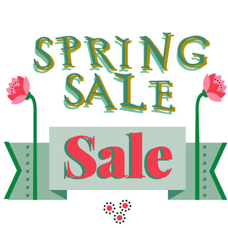 price reduction: Spring sale, discount hand drawn cartoon banner. Shopping sticker. Price reduction. Announcement, flier, board. Trade commerce element. Promo sign. Sweet colorful flowers. Announcement of sale.