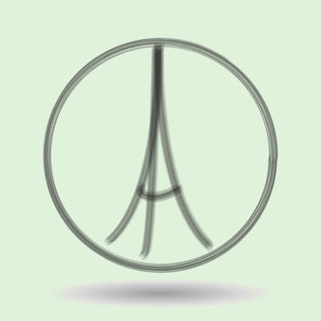 killed: Freehand sketch illustration of praying hands and Eiffel Tower. Abstract banners with strokes and shadow. Hand drawn doodle. Peace for Paris, Pray for Paris. Pray for killed victims. Vector Illustration