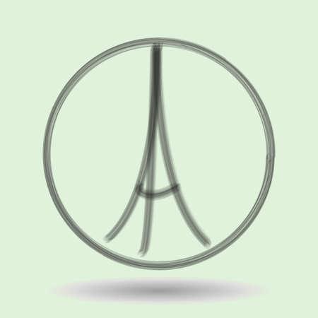 orando: Ilustración boceto a mano alzada de manos orando y Torre Eiffel. Banderas abstractas con los accidentes cerebrovasculares y la sombra. Dibujado a mano del doodle. Paz para París, ruega por París. Oremos por las víctimas asesinadas. Vector