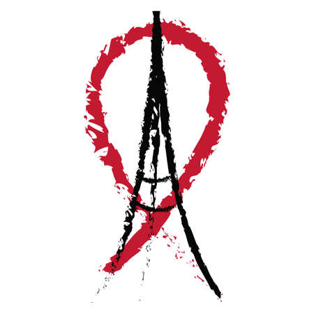 killed: Freehand sketch illustration of praying hands, Eiffel Tower and red ribbon. Abstract banners with strokes. Peace for Paris, Pray for Paris and France. Pray for killed victims. Vector