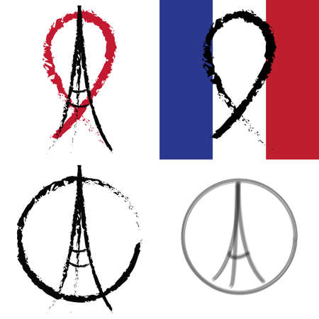 terrorist attack: Set of illustrations pray for Paris. Black ribbon on the flag of France. Terrorist attack on 13 November 2015. Day of Mourning. The monument to the innocent victims. Share sadness. Vector