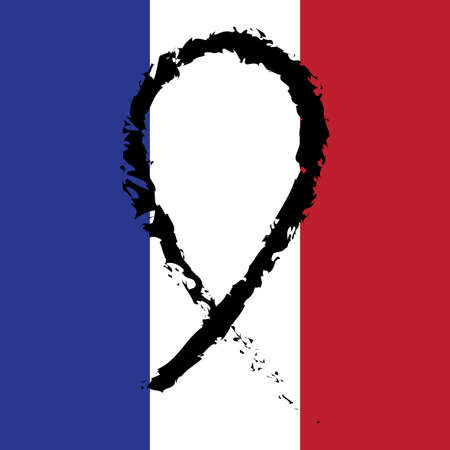 black ribbon: Pray for Paris. Black ribbon on the flag of France. Terrorists attack on 13 November 2015. Day of Mourning. The monument to the innocent victims. Share sadness. Vector design illustration