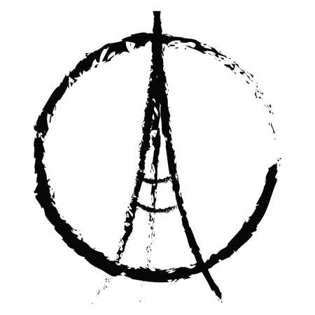 killed: Freehand sketch illustration of praying hands and Eiffel Tower. Abstract banners with strokes isolated on black background. Peace for Paris, Pray for Paris and France. Pray for killed victims. Vector Stock Photo