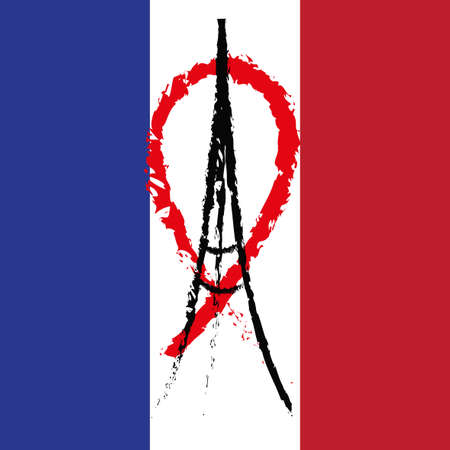 friday 13: Freehand sketch illustration of praying hands and Eiffel Tower. Abstract banners with strokes isolated on flag of France. Peace for Paris, Pray for Paris and France. Pray for killed victims. Vector
