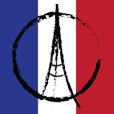 friday 13th: Freehand sketch illustration of praying hands and Eiffel Tower. Abstract banners with strokes isolated on flag of France. Peace for Paris, Pray for Paris and France. Pray for killed victims. Vector
