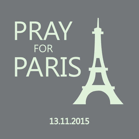 innocent: Pray for Paris. Eiffel Tower isolated on grey background. Terrorists attack on 13 November 2015. Day of Mourning. The monument to the innocent victims. Share sadness. Vector design illustration