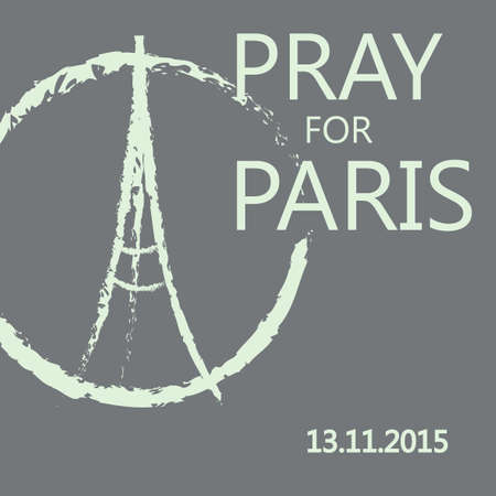 praying: Freehand sketch illustration of praying hands and Eiffel Tower. Abstract banners with strokes isolated on grey background. Peace for Paris, Pray for Paris and France. Pray for killed victims. Vector