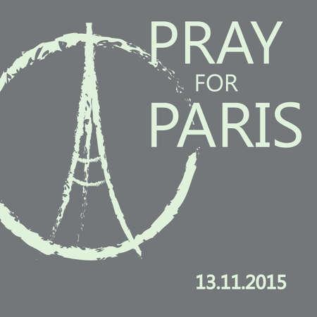 orando: ilustración boceto a mano alzada de rezar las manos y la Torre Eiffel. banderas abstractas con los trazos aislados sobre fondo gris. Paz para París, ruega por París y Francia. Rezar por las víctimas asesinadas. Vector
