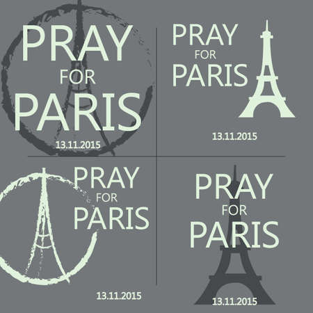 terrorist attack: Set of illustrations pray for Paris. Freehand sketch illustration of praying hands and Eiffel Tower. Terrorist attack on 13 November 2015. Day of Mourning. Innocent victims. Share sadness. Vector