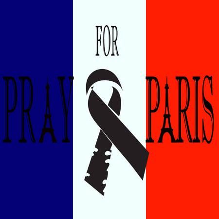 Pray for Paris. Black ribbon on the flag of France. Terrorists attack on 13 November 2015. Day of Mourning. The monument to the innocent victims. Share sadness. Vector design illustration