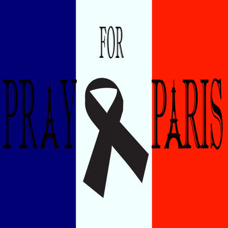innocent: Pray for Paris. Black ribbon on the flag of France. Terrorists attack on 13 November 2015. Day of Mourning. The monument to the innocent victims. Share sadness. Vector design illustration