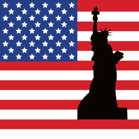 ny: Statue of Liberty. American flag. Symbol  of USA. Freedom.