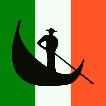 Italië symbool. Venetië. Gondel. Nationale vlag. Vector ontwerp illustratie