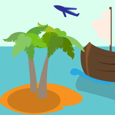 palm tree vector: Summer vacation holiday tropical island with palm tree.  Vector illustration Stock Photo