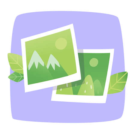 foto: Picture of foto from travel. Landscapes and mountains. Web icon.