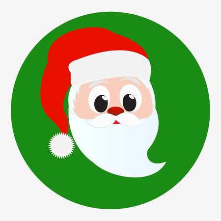 red beard: Santa Claus happy face portrait. Icon isolated on green circle background. Red Christmas hat and white beard and mustache. Editable Christmas Card vector illustration template Illustration