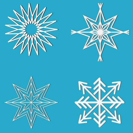blue icons: New Year snowflake design set. Sky star design set. White geometric objects on blue background. Editable vector illustration template Illustration
