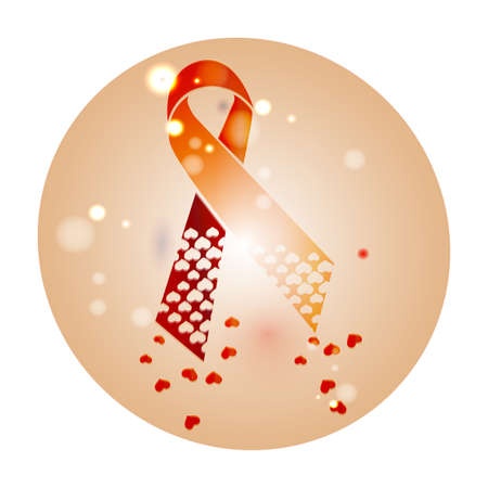World AIDS Day ribbon loop sign with flying hearts in the circle. 1 of December. World Cancer Day 4 February. Vector illustration editable template