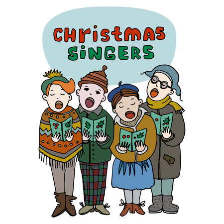 carolers: Four children singing carols. Christmas singers title. Merry Christmas greeting card. Cartoon style. Editable vector illustration template
