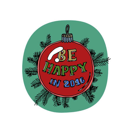 patch of light: Merry Christmas greeting card. Christmas tree toy isolated on green background. Red glass ball hanging on pine branch. Patch of reflected light. Cartoon style. Editable vector illustration template