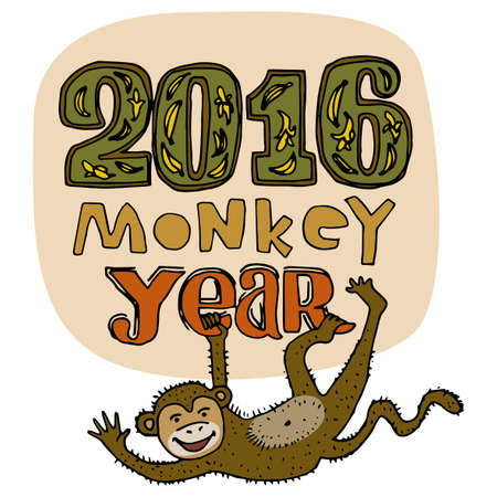 primate biology: Happy New Year greeting card. Monkey year title. Hand drawn digits and letters isolated on background. Smiling brown monkey hanging and waving. Cartoon style. Editable vector illustration template Illustration